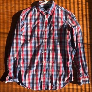 Long sleeve checkered slim fit  button down